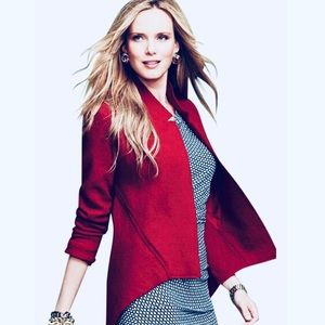 CAbi 528 Valentina Red Open Front Jacket 100% Wool